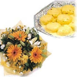 Bouquet Of Gerbera And Rasmalai Combo