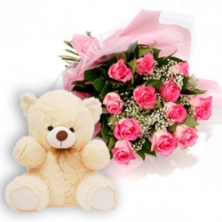 Pink Roses Bunch Teddy Bear