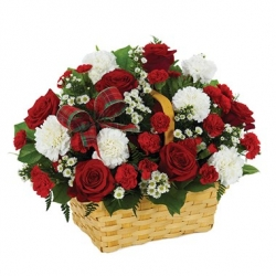 Red  Roses N White Carnation Bouquet