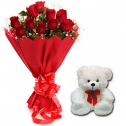Cute Teddy Red Roses Bouquet