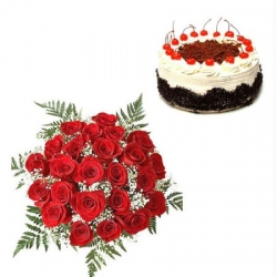 Red Roses Black Forest Cake