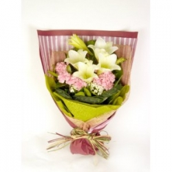 Bunch Of White Lilies And Pink Carnations