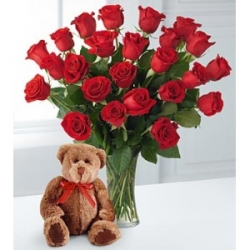Vase Arrangement Of Roses With Teddy