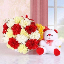 Multicolored Carnations Bunch Teddy