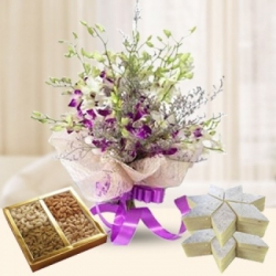 Orchid Bouquet With Dry Fruits And Sweets