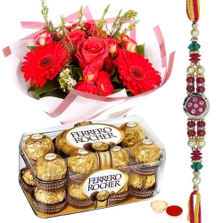Red Flower Bouquet Ferrero Rocher Rakhi