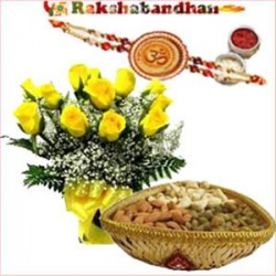 Designer Rakhi Yellow Roses Dry Fruits