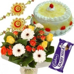 Pineapple Cake Rakhi Flower Bouquet