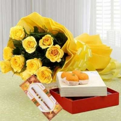 Rakhi,Yellow Roses Bunch,Motichoor Ladoo