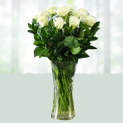 Glass Vase Arrangement Of White Roses