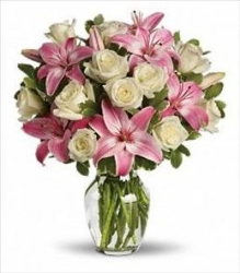 Pink Lilies And White Roses Vase Arrangement