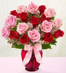 Red And Pink Roses Arrangement