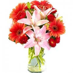 Red Daisies Pink Lilies Bouquet