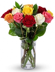12 Mixed Color Roses Glass Vase Arrangement