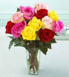 18 Mixed Roses In Vase