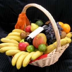 Fruits Basket With French Red Wine