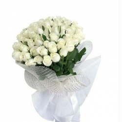 Hand Tied Bunch Of White Roses