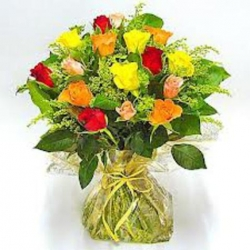 Hand Tied Bunch Of 12 Mixed Color Roses
