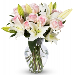 Pink Roses And White Lilies Vase Arrangement