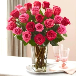 Red And Pink Roses Vase Arrangement