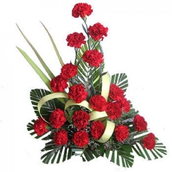 Flower Arrangement Of Red Carnations
