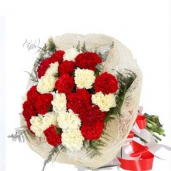 Bouquet Of Red N White Carnation